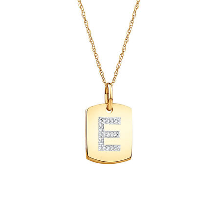 "E"" Initial Rectangular Pendant With Diamonds In 10kt Yellow Gold"