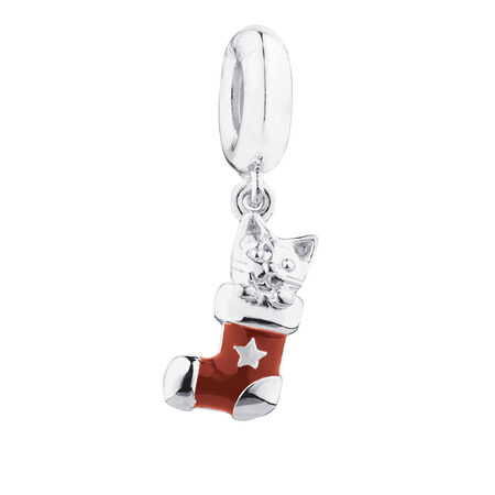 Cat Stocking Charm with Red Enamel in Sterling Silver