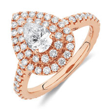 Sir Michael Hill Designer GrandArpeggio Engagement Ring with 1 1/5 Carat TW of Diamonds in 14kt Rose Gold