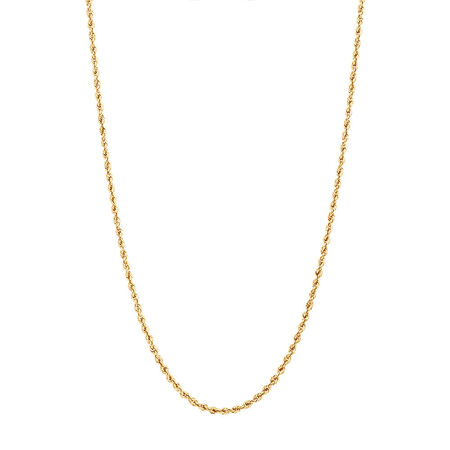 "45cm (18"") Glitter Rope Chain in 10kt Yellow Gold"