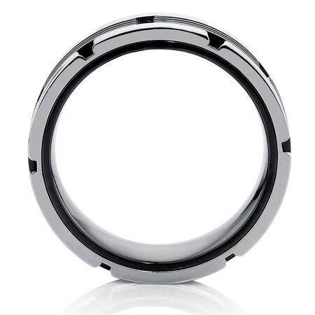 Men's Carbide Ring in Black & White Titanium