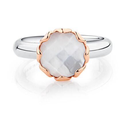 Mother of Pearl, Sterling Silver & 10kt Rose Gold Stacker Ring