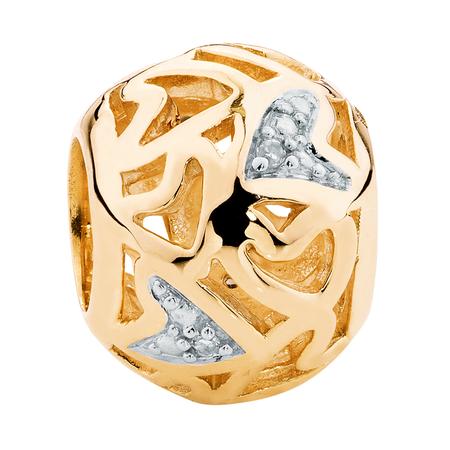 Diamond Set & 10kt Yellow Gold Heart Charm