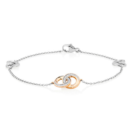 Bracelet with 1/10 Carat TW of Diamonds in 10kt Rose Gold & Sterling Silver