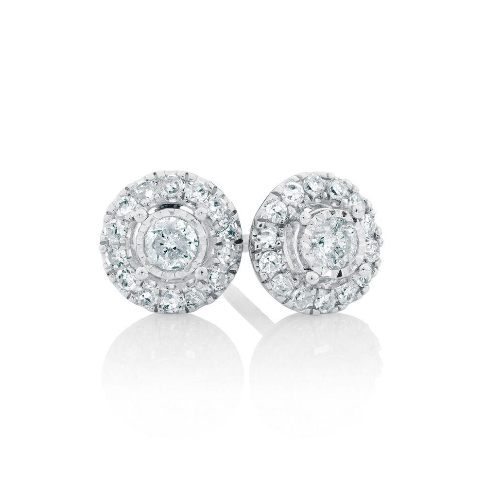 Gold stud earrings 9 carat white /& rose gold