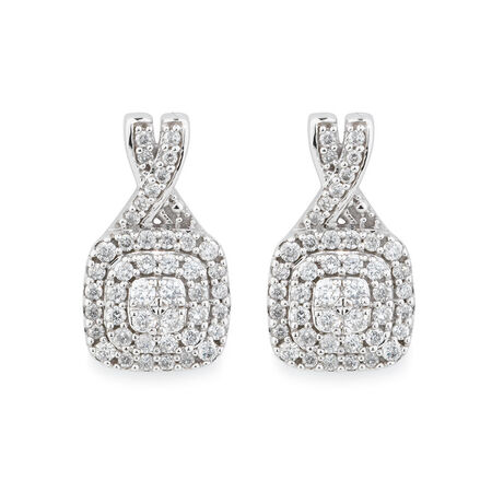 Earrings with 1/2 Carat TW of Diamonds in 10kt White Gold