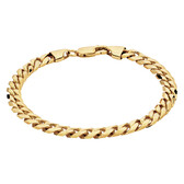 "21cm (8.5"") Men's Curb Bracelet in 10kt Yellow Gold"