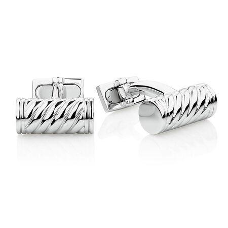 Weave Pattern Cuff Links in 925 Sterling Silver