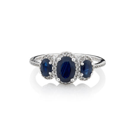 Online Exclusive - Ring with 0.13 Carat TW of Diamonds & Sapphire in 10kt White Gold