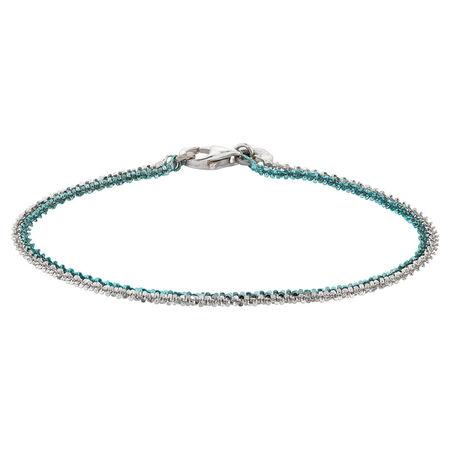 Aqua Double Strand & Sterling Silver Bracelet