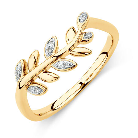Olive Leaf Ring with Diamonds in 10kt Yellow Gold