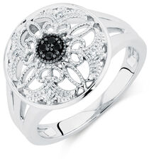 Online Exclusive - Ring with White & Enhanced Black Diamonds in Sterling Silver