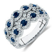 Ring with Sapphire & 0.80 Carat TW of Diamonds in 14kt White Gold