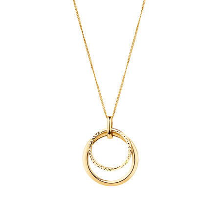 Double Circle Pendant in 10kt Yellow Gold