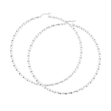 Online Exclusive - 80mm Twist Hoop Earrings in Sterling Silver