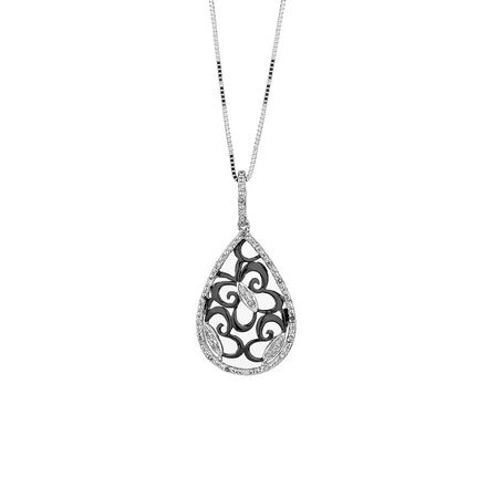 Online Exclusive - Butterfly Pendant with 1/10 Carat TW of Diamonds in Sterling Silver