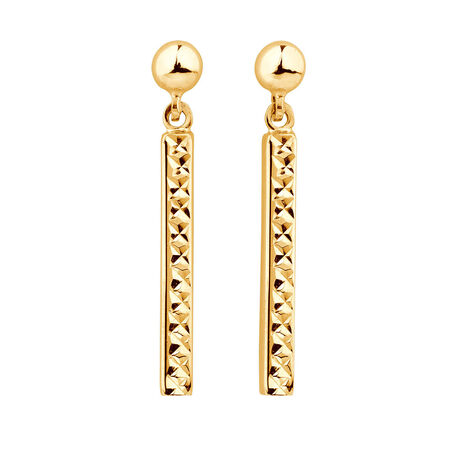 Drop Bar Earrings in 10kt Yellow Gold