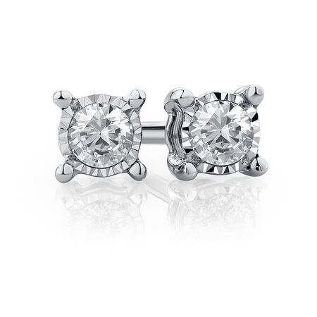 Stud Earrings with 1/10 Carat TW of Diamonds in Sterling Silver