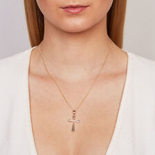 Cross Pendant in 10kt Yellow & White Gold