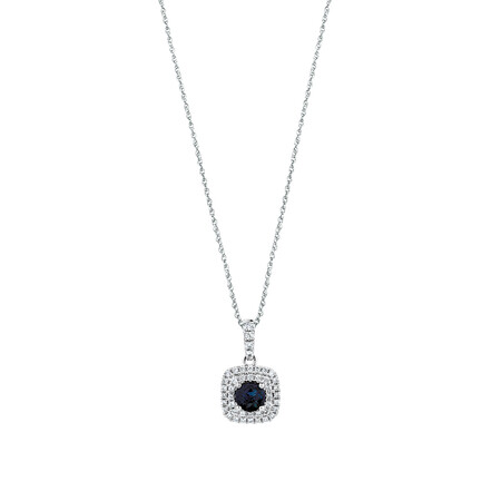Michael Hill Designer Pendant With Sapphire & 0.20 Carat TW Of Diamonds In 10kt White & Rose Gold