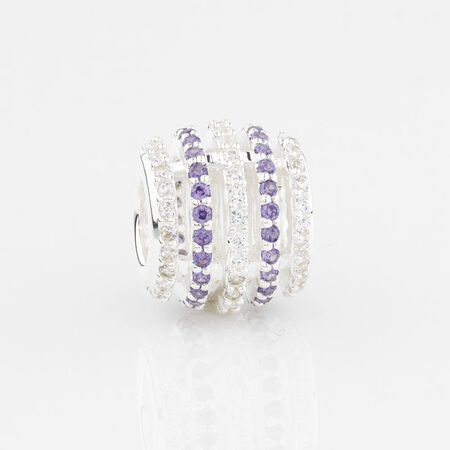 Online Exclusive - Five Row Charm with Purple & White Cubic Zirconia in Sterling Silver
