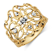 Filigree Ring in 10kt Yellow & White Gold