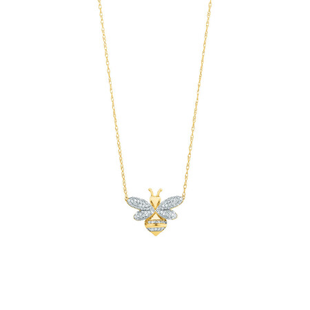 Bee pendant with 1/6 Carat TW Diamonds in 10kt Yellow Gold