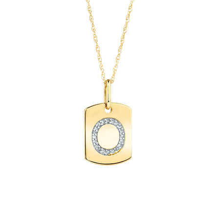 """O"""" Initial Rectangular Pendant With Diamonds In 10kt Yellow Gold"""