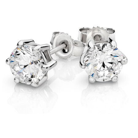 Stud Earrings with Cubic Zirconia in 10kt White Gold