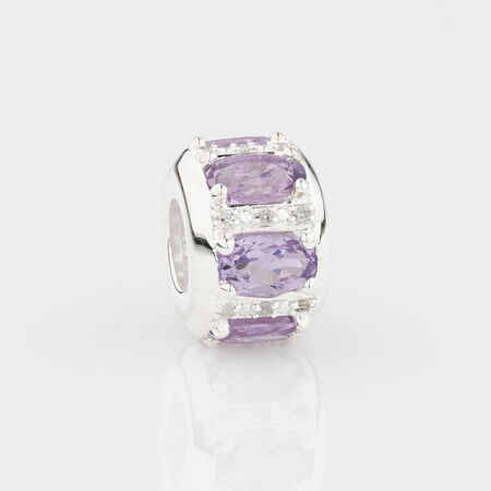 Online Exclusive - Barrel Charm with Pink Stone & Diamonds in Sterling Silver