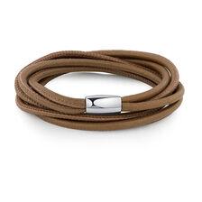 Wild Hearts Double Wrap Multi-Strand Bracelet in Bronze Leather & Stainless Steel