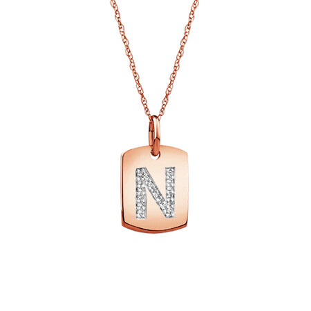 """N"" Initial Rectangular Pendant With Diamonds In 10ct Rose Gold"