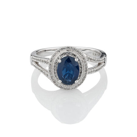 Online Exclusive - Ring with Sapphire & 0.20 Carat TW of Diamonds in 10kt White Gold