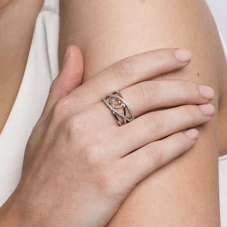 Infinitas Ring with 1/4 Carat TW of Diamonds in 10kt Rose Gold & Sterling Silver