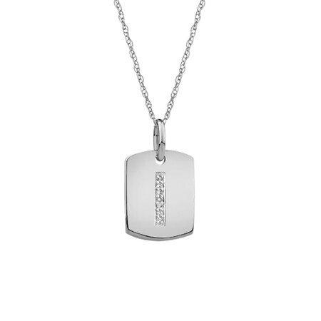 """I"" Initial Rectangular Pendant With Diamonds In 10ct White Gold"