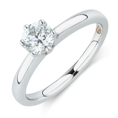 Whitefire Solitaire Engagement Ring with a 3/4 Carat TW Diamond in 18kt White & 22kt Yellow Gold