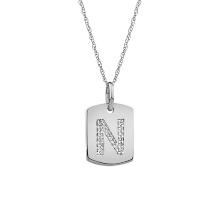 """""""N"""" Initial Rectangular Pendant With Diamonds In 10ct White Gold"""