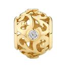 Diamond Set 10kt Yellow Gold Filigree Charm