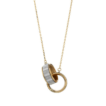 Online Exclusive - Double Glitter Circle Pendants in 10kt Yellow Gold