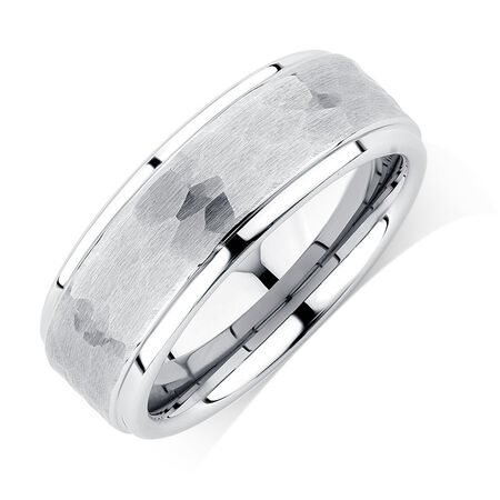 8mm Men's Ring in White Tungsten