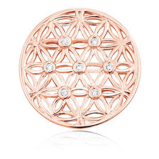 Cubic Zirconia & 10kt Rose Gold Flower Pattern Coin Locket Insert