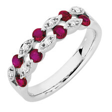 Online Exclusive - Ring with Rubies & Diamonds in 10kt White Gold