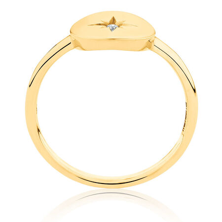 Star Mini Signet Ring With Diamond In 10kt Yellow Gold