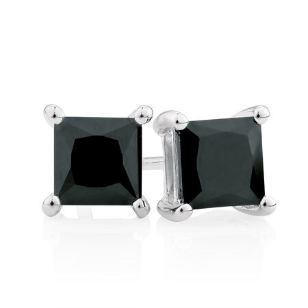 Black Cubic Zirconia & Sterling Silver Square Stud Earrings