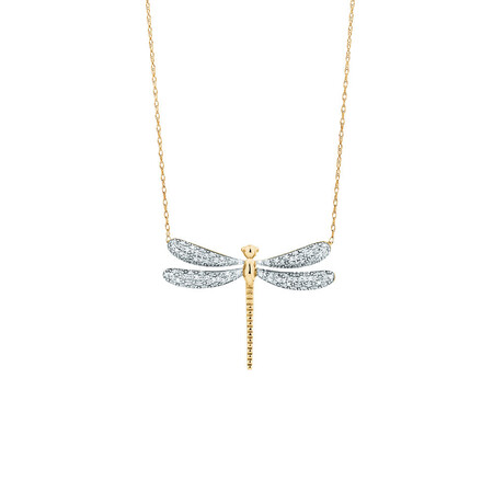 Dragonfly pendant with 1/5 Carat TW Diamonds in 10kt Yellow Gold