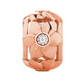 Diamond Set 10kt Rose Gold Flower Charm