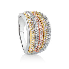 Tri-Tone Ring with 3/4 Carat TW of Diamonds in 10kt White, Rose & Yellow Gold