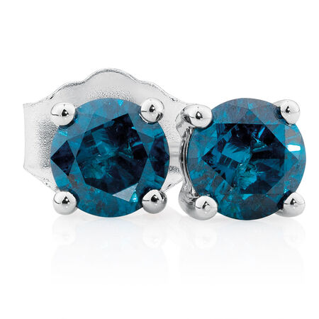 City Lights Stud Earrings with 1/2 Carat TW of Enhanced Blue Diamonds in 10kt White Gold