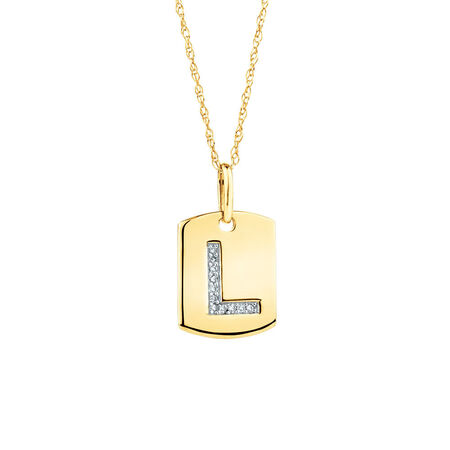 """L"""" Initial Rectangular Pendant With Diamonds In 10kt Yellow Gold"""