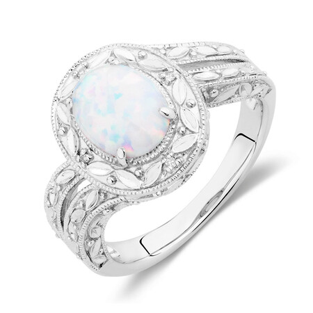 Ring with Created Opal & Diamonds in Sterling Silver